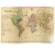 Vintage Map of The World (1831)  Poster