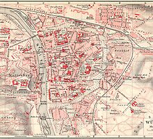 Vintage Map of Wurzburg Germany (1905) by BravuraMedia