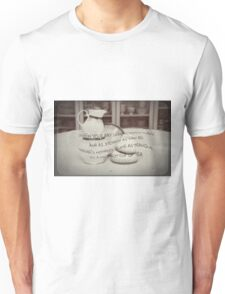 'When your day seems topsy turvy!' typography on vintage tea cup and saucer photograph Unisex T-Shirt