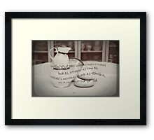 'When your day seems topsy turvy!' typography on vintage tea cup and saucer photograph Framed Print