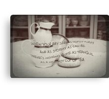 'When your day seems topsy turvy!' typography on vintage tea cup and saucer photograph Canvas Print