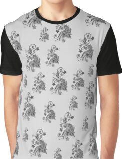 Gray, silver ornament, asymetric floral design Graphic T-Shirt