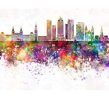 Amsterdam V2 skyline in watercolor background Photographic Print