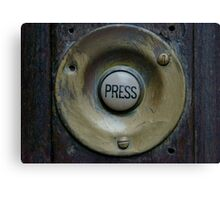 'Press' Doorbell photograph on scarf, t shirt, bag, note pad, journal,  Canvas Print