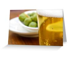Pint of beer served with olives  Greeting Card