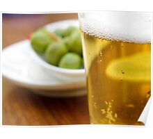 Pint of beer served with olives  Poster