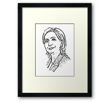 Hillary Clinton Outline Portrait Drawing, Freehand Art Framed Print