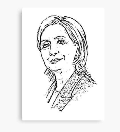 Hillary Clinton Outline Portrait Drawing, Freehand Art Canvas Print