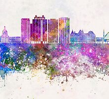 Edmonton V2 skyline in watercolor background by paulrommer