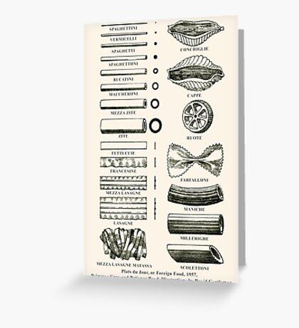 Retro cookbook pasta illustration Greeting Card
