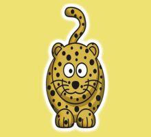 Leopard, Cartoon, Cute, Spotty, Big Cat, Yellow One Piece - Short Sleeve