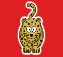 Leopard, Cartoon, Cute, Spotty, Big Cat, Yellow One Piece - Short Sleeve