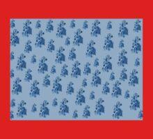 Blue flowers, ornament, asymetric floral design Kids Tee