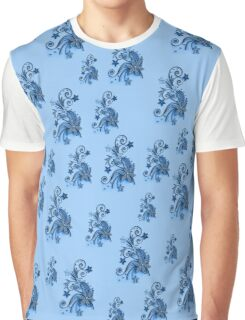 Blue flowers, ornament, asymetric floral design Graphic T-Shirt