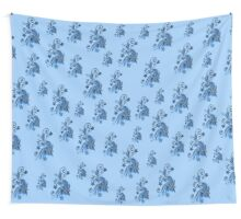Blue flowers, ornament, asymetric floral design Wall Tapestry