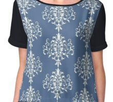 Silver look Damask pattern against blue Chiffon Top