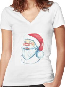 Hand drawn portrait of Santa Claus. Watercolor pencils illustration.  Women's Fitted V-Neck T-Shirt