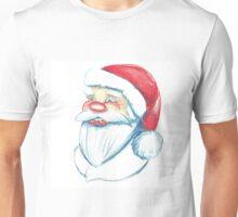 Hand drawn portrait of Santa Claus. Watercolor pencils illustration.  Unisex T-Shirt