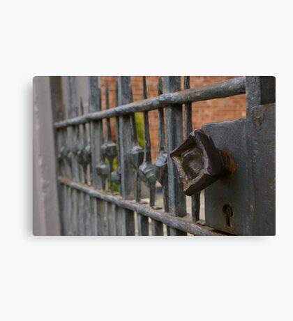 Vintage wrought iron rusty gate with keyhole photograph on scarf, t shirt, bag, note pad, journal,  Canvas Print