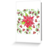 Christmas arrowhead plant, red holly berries.  Greeting Card