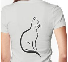 Cat Silhouette, Kitten, Pet, Cat, Feline, Puss, Pussy Womens Fitted T-Shirt