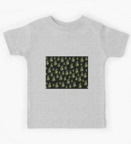 Cannary green flowers on black, ornament, asymetric floral design Kids Tee