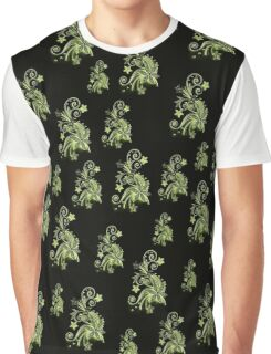 Cannary green flowers on black, ornament, asymetric floral design Graphic T-Shirt