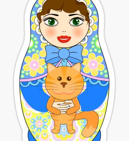 Russian doll matryoshka. Russian souvenir, tradition. Sticker