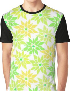 Seamless floral pattern with cute cartoon green neon flowers on light background Graphic T-Shirt
