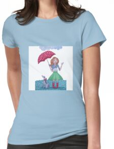 Girl with umbrella and Dog on a rainy day Womens Fitted T-Shirt