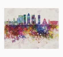Montreal V2 skyline in watercolor background Kids Tee