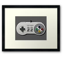 Classic gamepad controller, 80s SNES pad pattern, gray Framed Print