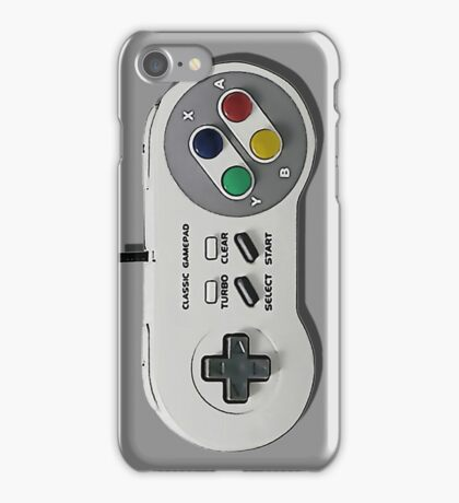 Classic gamepad controller, 80s SNES pad pattern, gray iPhone Case/Skin