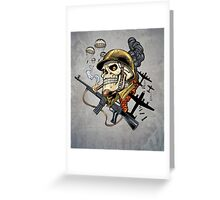 Airborne, Military Skull Smoking a fat Cigar while Bombs are Falling Greeting Card