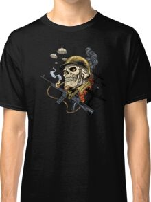 Airborne, Military Skull Smoking a fat Cigar while Bombs are Falling Classic T-Shirt