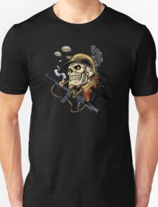 Airborne, Military Skull Smoking a fat Cigar while Bombs are Falling Unisex T-Shirt