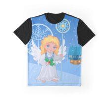 Christmas cute cartoon angel with blue star staff  Graphic T-Shirt