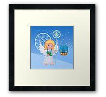 Christmas cute cartoon angel with blue star staff  Framed Print