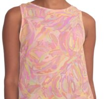 Abstract seamless pattern with flowers of peach color with shimmering Contrast Tank