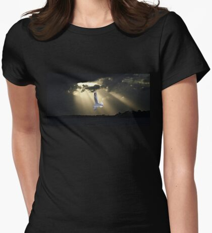 Seagull & Sunbeams Ocean Sunset with Water Reflections Womens Fitted T-Shirt