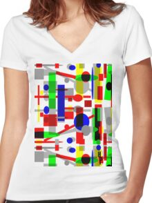 Geometric Shapes Geo Blast 1.3 by Hamlet Pericles Women's Fitted V-Neck T-Shirt
