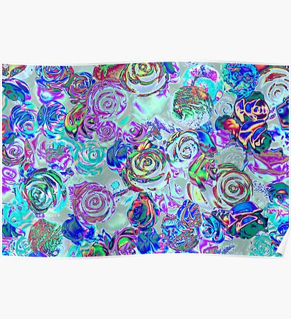 abstract colored roses stones Poster