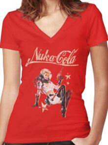Nukacola Pinup  Women's Fitted V-Neck T-Shirt