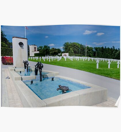 Water Feature in American War Cemetery, Luxembourg Poster