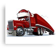 Cartoon Christmas Truck Canvas Print