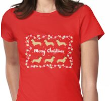 Dachshund Reindeers Merry Christmas! Womens Fitted T-Shirt