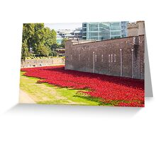 Ceramic poppies at the Tower of London Greeting Card