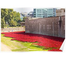Ceramic poppies at the Tower of London Poster