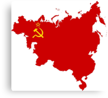 Communist influence map flag Canvas Print
