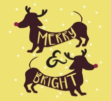 Merry & Bright (Dachshund Sausage Dog) One Piece - Short Sleeve